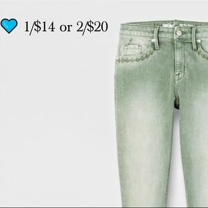  $14 or 2/$20 High Rise Skinny Jeans Lt Green
